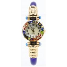 Orologio Donna Blu Oro watch in Vetro di Murano e antica Murrina Millefiori