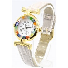 Orologio Donna Dorato Pelle watch in Vetro di Murano Murrina Millefiori Lady