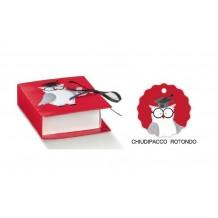 LIBRO BOOK GUFO PER BOMBONIERA LAUREA MADE IN ITALY CON CHIUDIPACCO