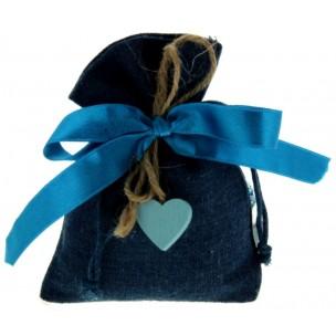 Bomboniera Sacchetto Blu Cuore Legno Azzurro