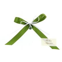 Segnaposto in Raso Verde con Murrina Ciondolo e Bigliettino Vetro di Murano