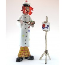 Clown Murano Glass H35cm Made in Italy Pagliaccio Pittore con Tavolozza
