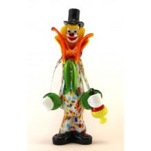 Clown Murano Glass H28cm Made in Italy Pagliaccio F451 CON FIASCHETTA