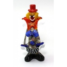Clown Murano Glass H20cm Made in Italy Pagliaccio F450 CON FISARMONICA