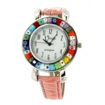 Orologio Donna Rosa watch in Vetro di Murano e antica Murrina Millefiori