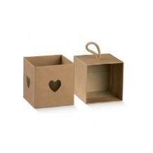 Scatola avana portaconfetti cuore per bomboniera made in italy elegantissima