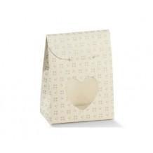 Bustina porta confetti cuore per bomboniera made in italy tortora